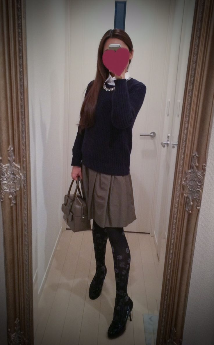 White buttoned blouse + brown gathered skirt + navy blue sweater + brown bag + black heels - http://ameblo.jp/nyprtkifml