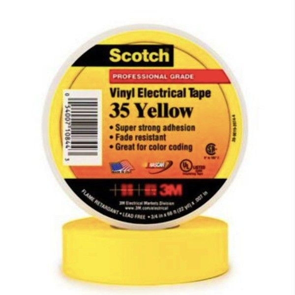 Scotch 35 Vinyl Electrical Color Coding Tape - Yellow - 3/4 in x 66 ft.  Scotch® 35 Vinyl Electrical Color Coding Tape - Yellow-3/4, 3/4 in x 66 ft (19 mm x 20,1 m), 100 rolls/case.     - Harga per roll  http://tigaem.com/isolasi-electrical-tape/162-scotch-vinyl-electrical-color-coding-tape-35-yellow-3-4-in-x-66-ft.html  #scotch #electricaltape #isolasi #3M