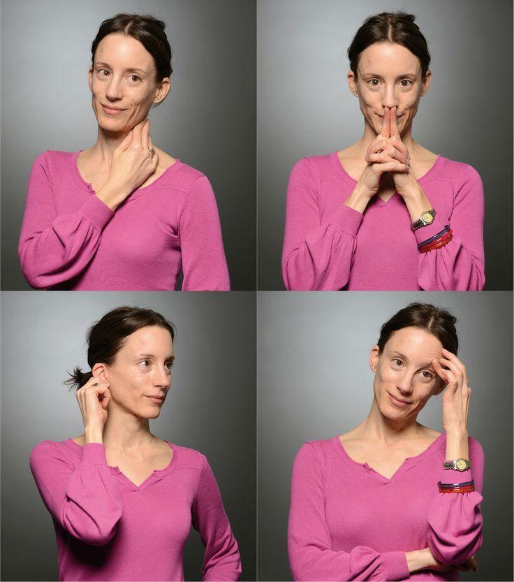 Ces petits gestes qui nous trahissent. Quatre gestes illustrés par Natacha Pagoni, responsable RH. Ils peuvent signifier (de gauche à droite et de haut en bas) rapprochement, contradiction, écoute et réflexion. © Olivier Evard