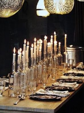 Clear Wine Bottles as centerpiece for halloween