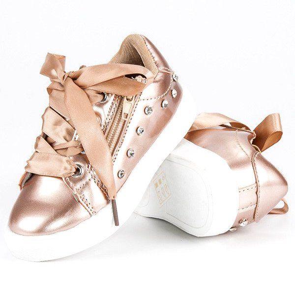 Buty Sportowe Dzieciece Dla Dzieci Butymodne Zolte Zlote Trampeczki Ze Wstazka Butymodne Girls Shoes Shoes Girl