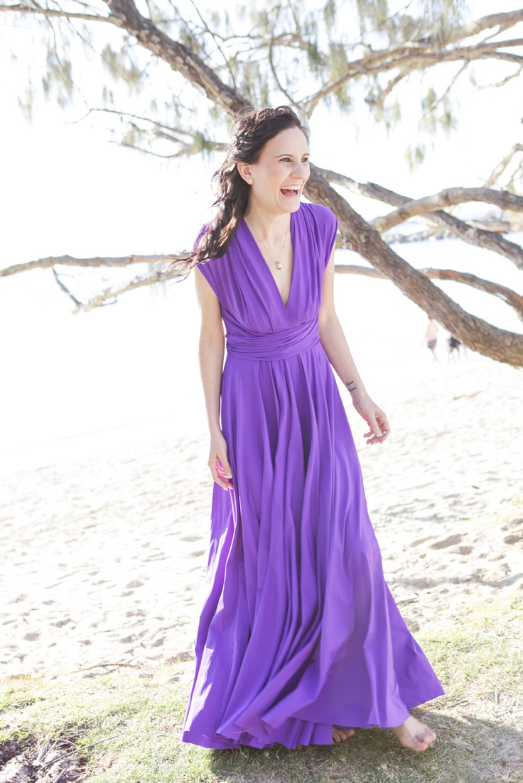 Violet Purple Convertible Bridesmaid Dress by http://www.lucyandloo.com.au     Wrap and Twist these Convertible Dresses into over 50 different styles. Match your bridesmaids.. or let them style differently to suit their shape.