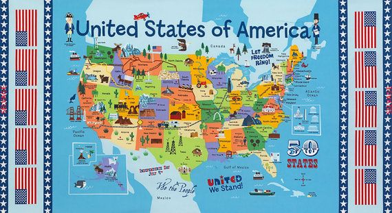 FREE ship to USA  USA Map 100% cotton fabric panel by pmscrafts
