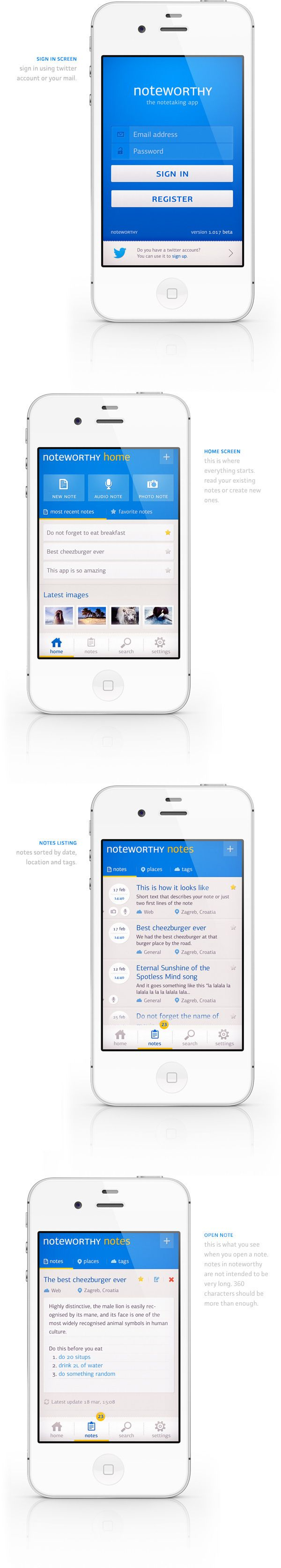 Noteworthy app concept by Ante Matijaca, via Behance