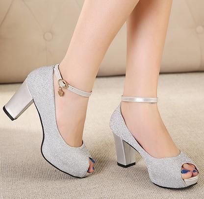 Glitter silver wedding shoes peep toe ankle strappy fashion ladies  comfortable thick heel prom groom shoes 3 colors size 34 to 39  9ff88ea5cf8c