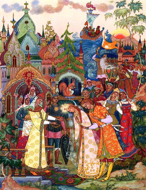 Цветные репродукции иллюстратора А.М. Куркина к «Сказке о царе Салтане» в стиле Палех