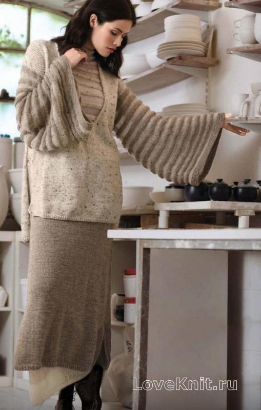 Спицами туника с широкими рукавами и длинная юбка с жемчужным узором фото к описанию
