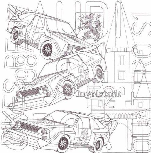"""Dies ist eines der zahlreichen Motive, die in Tom Gehrkes Malbuch """"130 Jahre Automobil – Ein Ausmalbuch zum Entspannen"""" abgebildet ist. Es zeigt typische Symbole für die Stadt Ingolstadt und den Audi Sport Quattro S1. Viel Spaß beim Ausmalen!"""