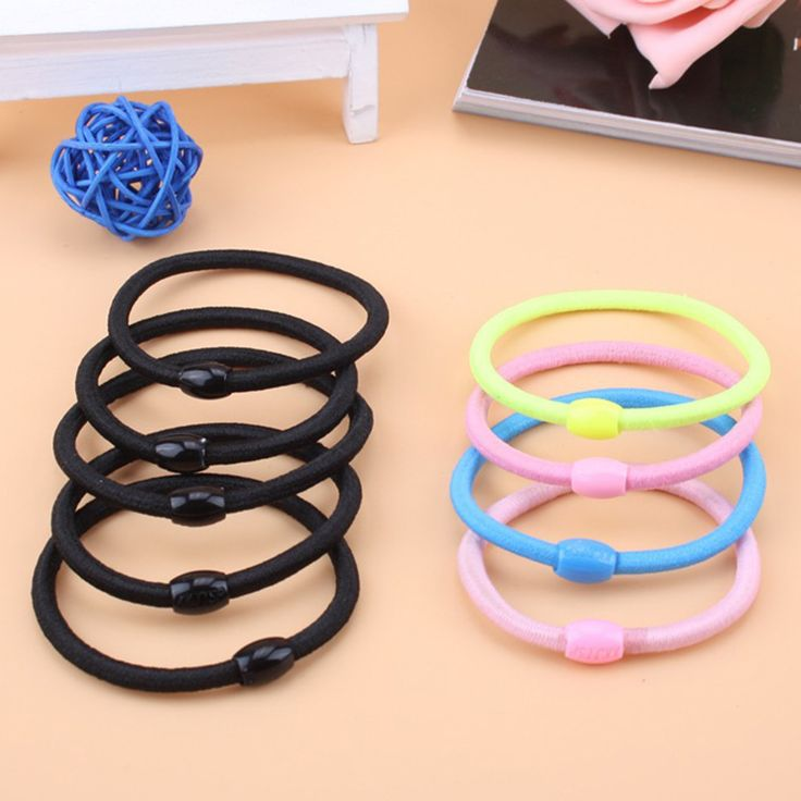 2 pcs  Black And Candy Colored Hair Holders Elasticity Rubber Hair Band Tie Hair For Girl Women / Hair Accessories