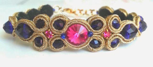 biżuteria soutache, haft koralikowy, torby z filcu: Jagodowy komplet sutasz