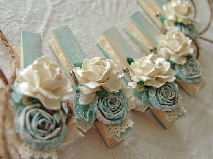 French Shabby Chic Cottage Blue decorated clothingpins Decorative clothes pegs Set of 8 with paper flowers. $18.00, via Etsy.