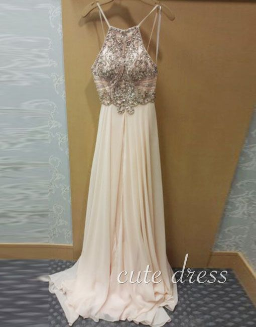 Unique A-line sequin backless light champagne long prom dress for teens, cute evening dress