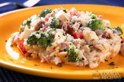 Receita de Arroz cremoso com brócolis, atum e queijo em receitas de arroz, veja essa e outras receitas aqui!