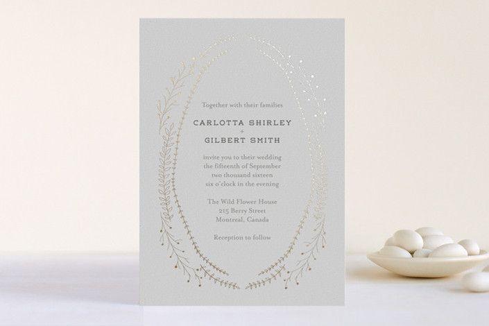 'Wanderlust' wreath foil-pressed wedding invitations