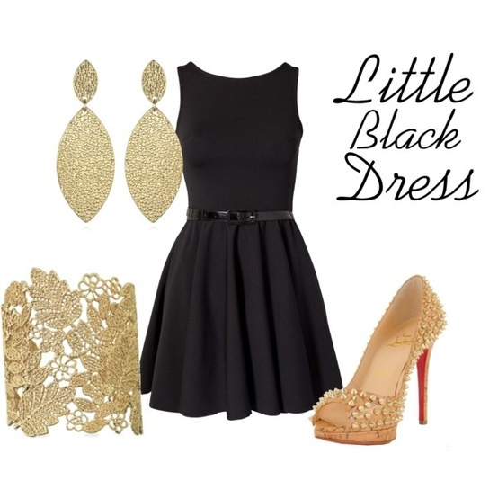little black dress outfit perfect with gold strappys http