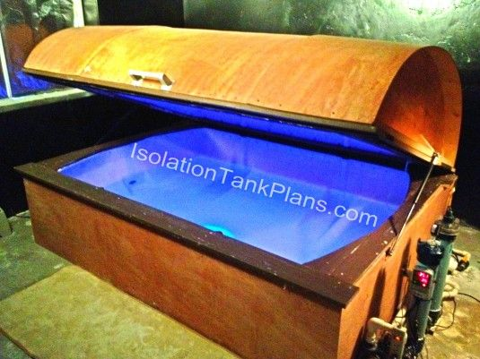 Interesting coffin style isolation chamber with filtration system by IsolationTankPlans.com