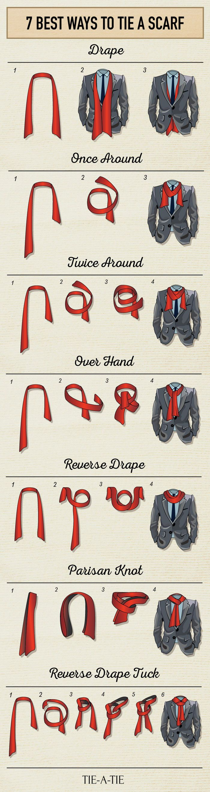 Here are the 7 Best Ways to Tie Your Scarf: http://www.tie-a-tie.net/how-to-tie-a-scarf.html