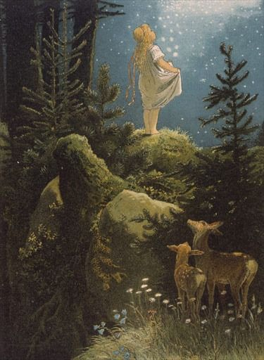 "hyperb0rean: "" Illustration of the Brothers Grimm' fairytale ""Die Sterntaler"", by Victor Paul Mohn (1882). """