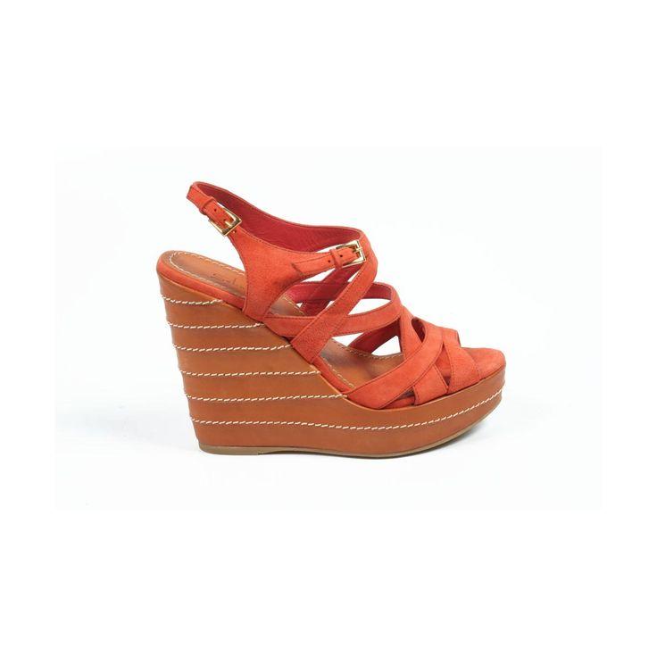 Sebastian Milano ladies espadrille wedge sandal 4200 CAMOSCIO CORALLO