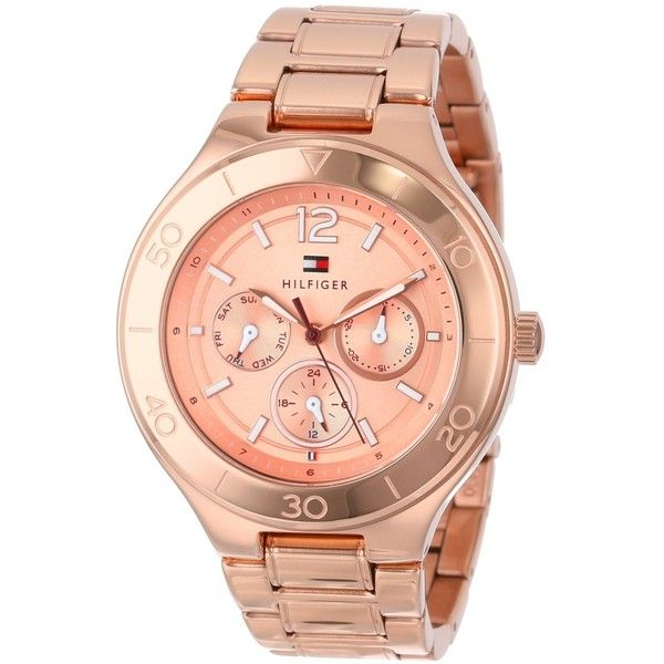 Tommy Hilfiger Women's 1781333 Chronograph Rose-tone Stainless Steel... ($150) ❤ liked on Polyvore