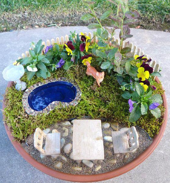 Fairy garden love the pool garden fairy garden for Mini garden pool