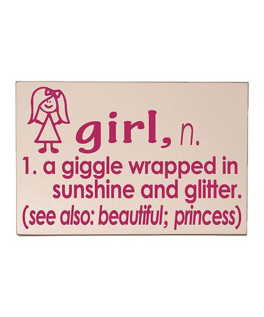 Loving this Cream & Pink 'Girl' Definition Wall Sign on #zulily! #zulilyfinds