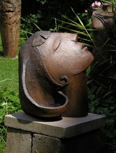 Ceramics by Anne Foxley at Studiopottery.co.uk - 2010. Head, new, leaning