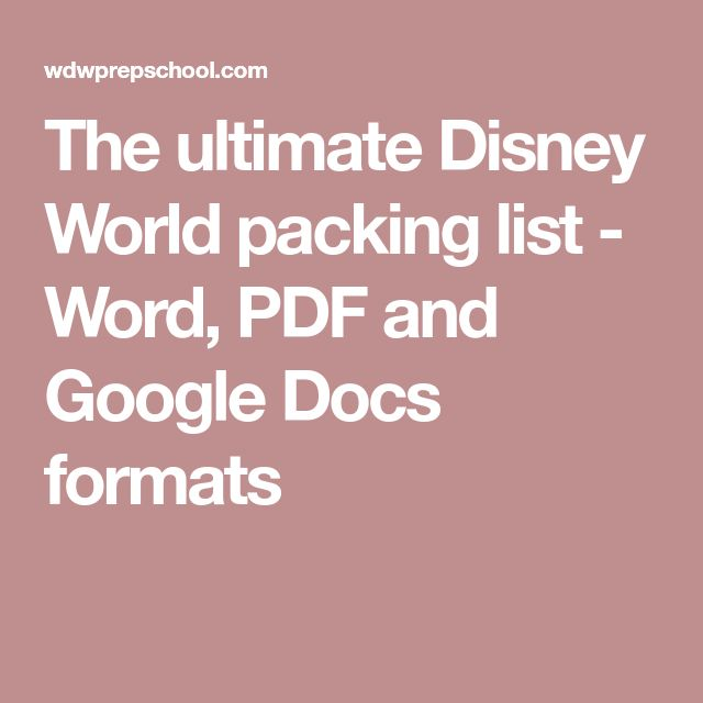 packing list word