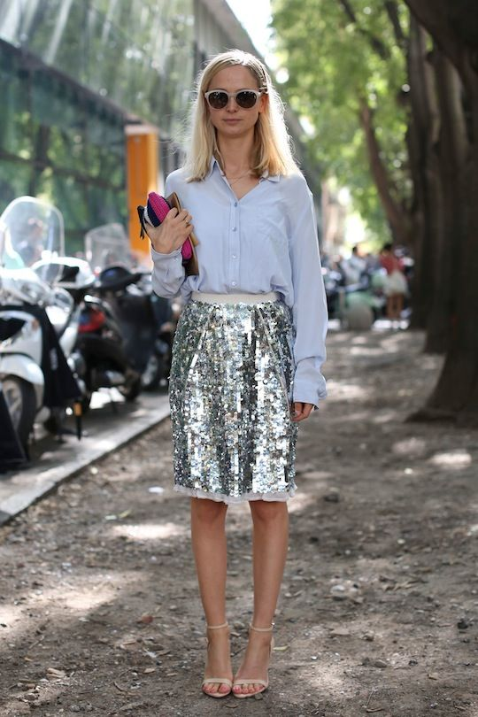 Our 25 Favorite Street Style Snaps from Milan Fashion Week: What's not to love about a healthy dose of sparkle? (IMAXtree)