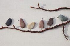 Süßes Vogelbild aus Steinen basteln, tolle Idee