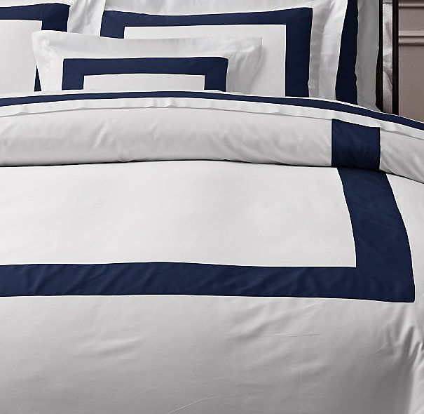 Italian Banded Sateen Duvet Cover in Navy from Restoration Hardware