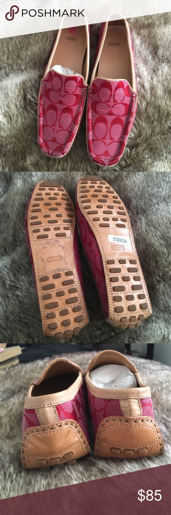 DESIGNER DEALS🐞COACH Christa logo driving loafers Beautiful red Coach logo loafers with leather trim and sole. Never worn, in box! Coach Shoes Flats & Loafers