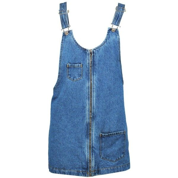 Boohoo Petite Kitty Zip Front Denim Pinafore Dress | Boohoo (87 BRL) ❤ liked on Polyvore featuring dresses, blue cocktail dresses, blue dress, pinafore dress, petite denim dress and petite cocktail dress