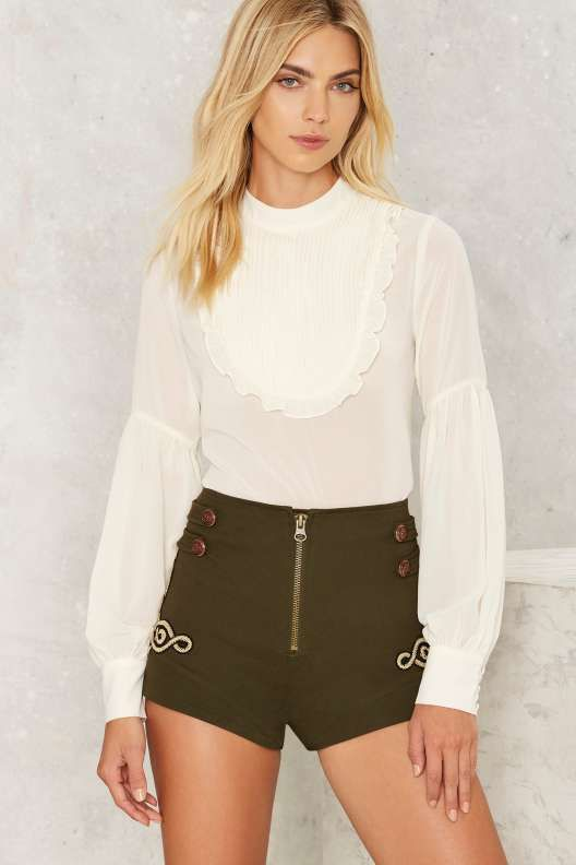 Nasty Gal High and Tight High-Waisted Military Shorts