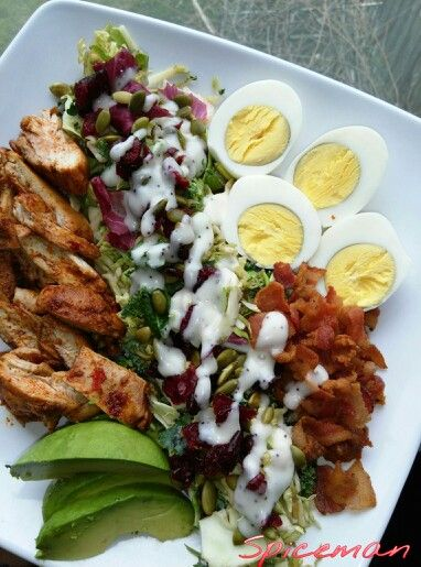 Grilled chili lime chicken salad with honey mustard dressing