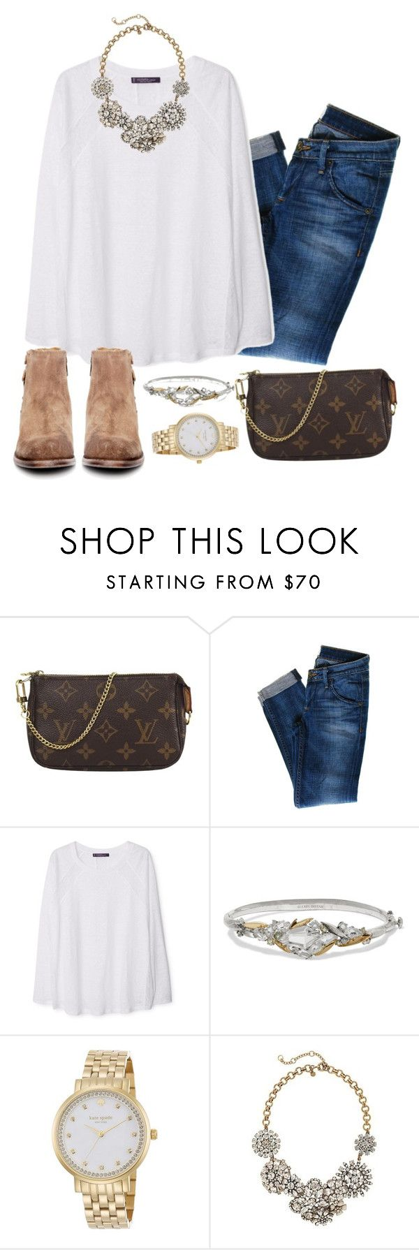 """""""Classy girl"""" by preppygirlusa ❤ liked on Polyvore featuring Louis Vuitton, Hudson Jeans, MANGO, Alexis Bittar, Kate Spade, J.Crew, H by Hudson, women's clothing, women and female"""