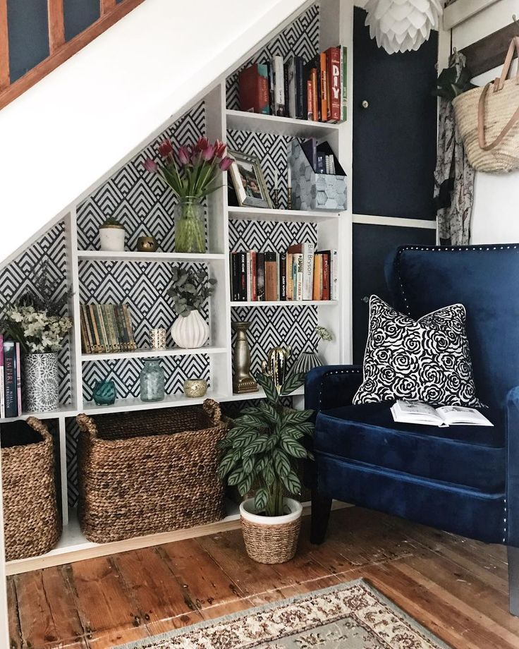 Bespoke Under Stairs Shelving: Under Stair Storage Ideas, A Reading Nook With A Blue