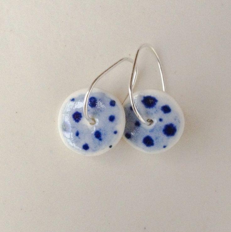 Delft Blue porcelain earrings. Ceramicsondemand.com