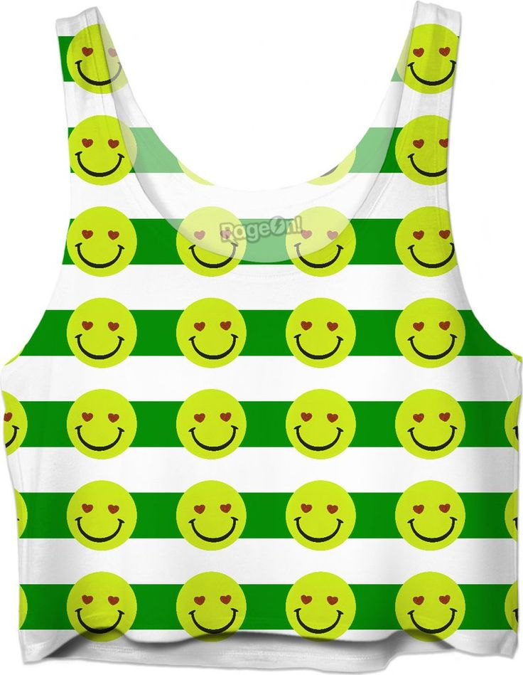 Emoji face and green stripes pattern Crop Top Girls Tee Shirt Design  - Item printed by RageOn.com, also available at casemiroarts.com #style #design #cool #sexy #swag #fashion #accessories #clothing