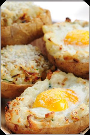 Baked eggs with potatoes.Oven baked eggs with cheese and double cream in potato basket.Delicious!!!!