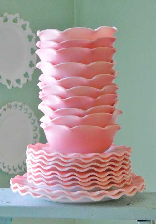 Like flower petals. Vintage milk glass. ♥ I like the pink! It looks like a strawberry smoothie