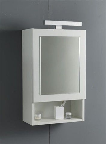 Mirror wall unit, made in V100 18 mm white water-repellent laminate faced particleboard, one-panel opening, with slow-motion closing mechani...