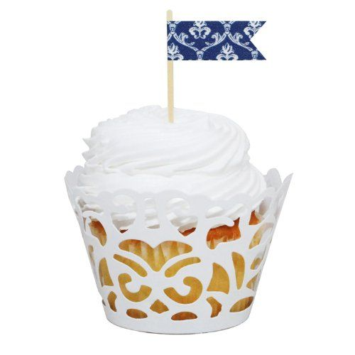 Dress My Cupcake DMC31427 24-Pack Laser Cut Cupcake Wrappers and Washi Pennant Toppers DIY Kit, Vintage Navy Blue Damask Dress My Cupcake,http://www.amazon.com/dp/B00CREXYSM/ref=cm_sw_r_pi_dp_TtfAtb16E9QH5VP9