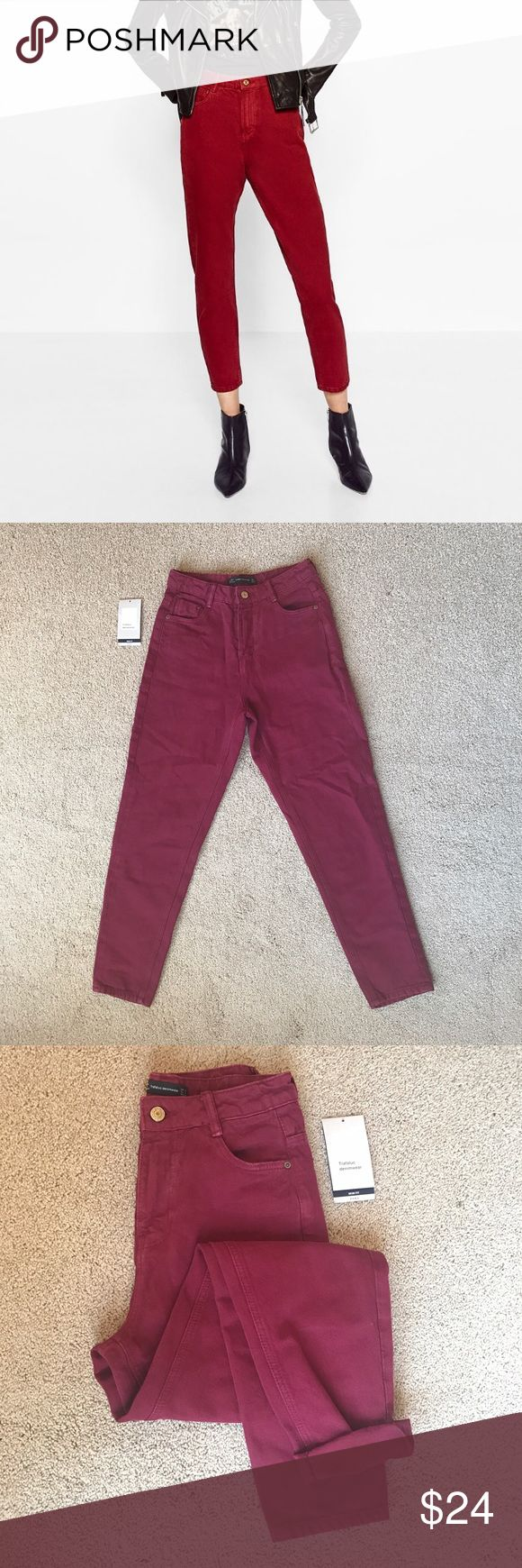 BRAND NEW Zara Mom jeans burgundy I bought these online but they turned out to be too small for me. Never worn before super cute mom jeans/trousers that are sure to make any outfit pop. Jeans give off a vintage vibe, check last picture to see small touches to make them look worn. Tags are not attached but still have them. Feel free to ask questions or message me. The color in the product photo is less accurate but I included it because it's from Zara. Please feel free to ask questions! Zara…