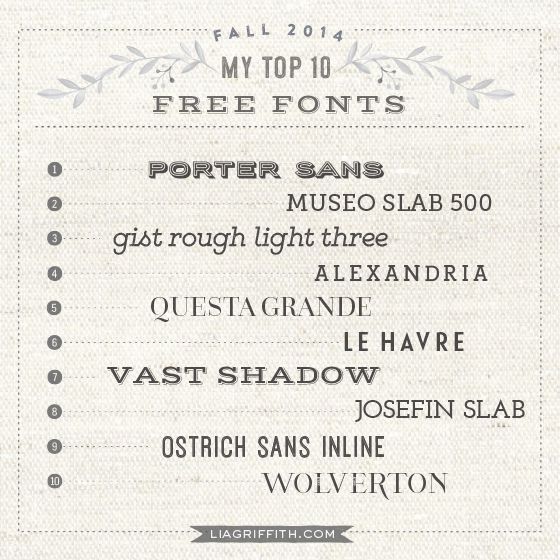 My Top 10 Free Fonts for Fall @LiaGriffith.com #typography #freefonts