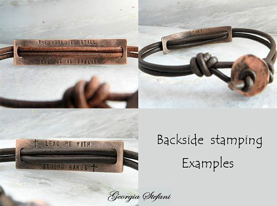 Personalized oxidized copper ID leather by DreamCityJewels on Etsy