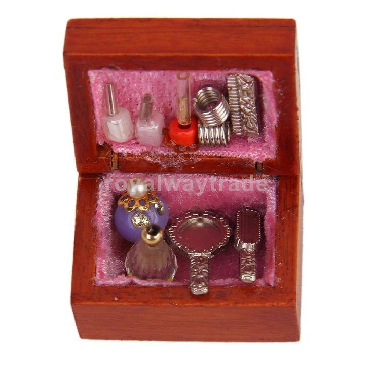 Makeup Box Case Perfume Mirror Lipgloss Nail Polish For 1/12 Dollhouse Miniature #Unbranded