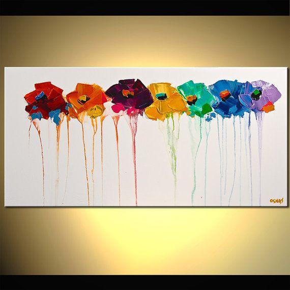Bloemen schilderij - hedendaagse moderne kunst door Osnat. Aangezien dit een MADE-TO-ORDER schilderij, zal het worden zo dicht mogelijk bij de één u hier, ziet dat heb ik al verkocht. Het duurt me ongeveer 5 werkdagen om te voltooien deze creatie. Als u wilt veranderen laat kleuren het me weten. Schilderij de naam: Kleuren op mijn muur Afmeting: 48 x 24 Medium: Acrylverf op verpakt uitgerekt doek Kleurrijke schilderkunst. Verloren in uw tuin is een landschap hedendaagse moderne schilderij...