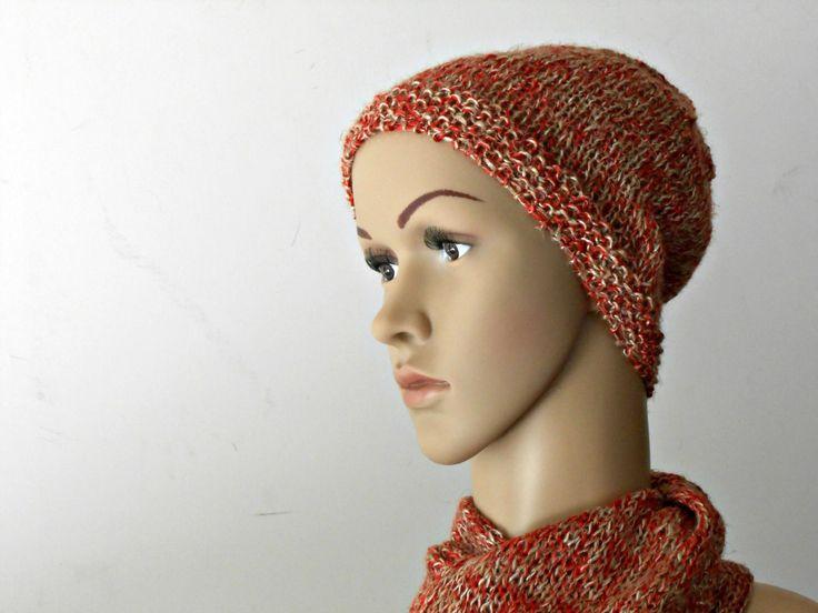 Cappellino da uomo stile grunge, in lino tweed, rosso melange, lavorato ai ferri, cappello maschile abbinabile alla sciarpa a maglia in lino by cosediisa on Etsy