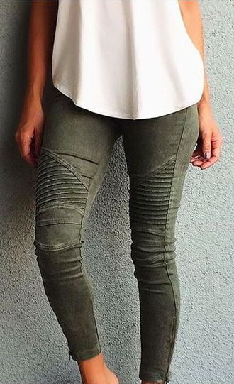 Army green motto jeggings